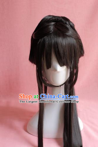 Traditional Chinese Ming Dynasty Wigs Sheath Cosplay Ancient Goddess Female Swordsman Chignon for Women