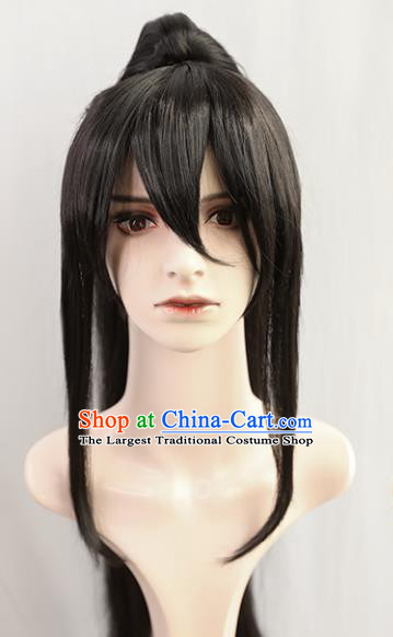 Traditional Chinese Cosplay Civilian Wigs Sheath Ancient Young Swordsman Chignon for Men