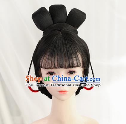 Traditional Chinese Cosplay Tang Dynasty Princess Wigs Sheath Ancient Nobility Lady Chignon for Women