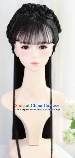 Traditional Chinese Cosplay Ming Dynasty Princess Goddess Wigs Sheath Ancient Nobility Lady Chignon for Women