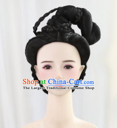 Traditional Chinese Cosplay Ming Dynasty Nobility Lady Wigs Sheath Ancient Queen Chignon for Women