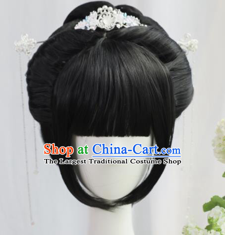 Traditional Chinese Cosplay Ming Dynasty Wigs Sheath Ancient Nobility Lady Chignon for Women