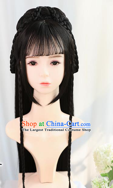 Traditional Chinese Cosplay Song Dynasty Palace Queen Wigs Sheath Ancient Flying Apsaras Chignon for Women