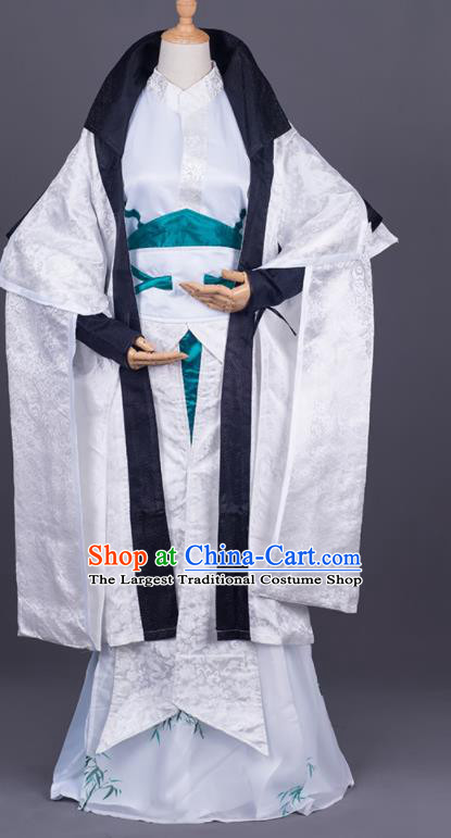 Traditional Chinese Cosplay Taoist Priest White Costumes Ancient Swordsman Hanfu Clothing for Men