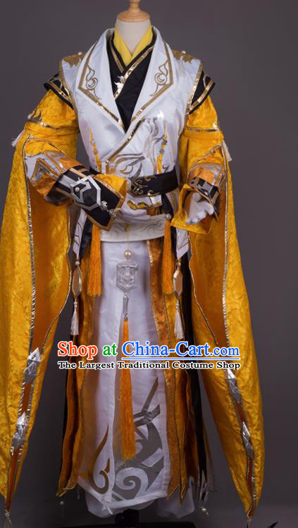 Traditional Chinese Cosplay Crown Prince Golden Costumes Ancient Swordsman Hanfu Clothing for Men