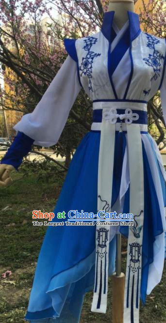 Traditional Chinese Cosplay Young Knight Blue Costumes Ancient Swordsman Hanfu Clothing for Men