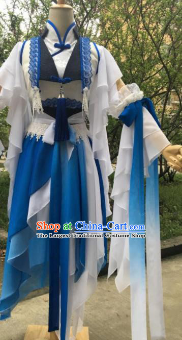Traditional Chinese Cosplay Female Swordsman Song Ning Blue Dress Ancient Drama Fairy Princess Costumes for Women
