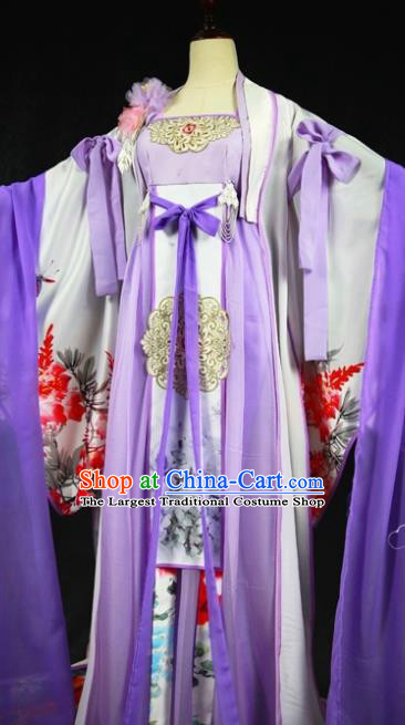 Traditional Chinese Cosplay Court Lady Purple Dress Ancient Drama Fairy Princess Costumes for Women