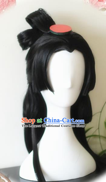Traditional Chinese Cosplay Princess Xiao Qiao Black Long Wigs Sheath Ancient Female Swordsman Chignon for Women