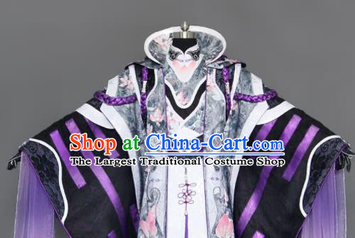 Chinese Cosplay Royal Highness Purple Embroidered Costumes Ancient Swordsman Clothing for Men