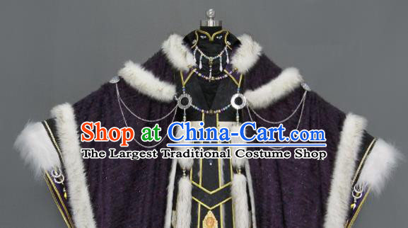Chinese Cosplay Royal Highness Deep Purple Embroidered Costumes Ancient Swordsman Clothing for Men
