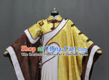 Customize Chinese Traditional Cosplay Monk Monarch Golden Costumes Ancient Swordsman King Clothing for Men