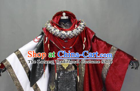 Customize Chinese Traditional Cosplay Taoist Priest Purplish Red Costumes Ancient Swordsman Clothing for Men