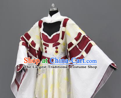 Traditional Chinese Cosplay Fairy Queen Short Dress Ancient Drama Female Swordsman Costumes for Women