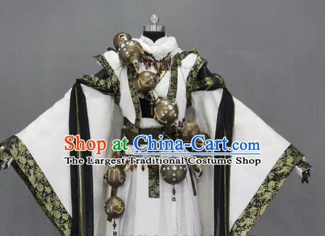 Customize Chinese Traditional Cosplay Taoist Monk White Costumes Ancient Swordsman Clothing for Men
