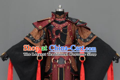Customize Chinese Traditional Cosplay General Black Costumes Ancient Swordsman Clothing for Men