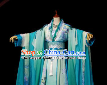 Traditional Chinese Cosplay Imperial Consort Green Dress Ancient Drama Goddess Costumes for Women