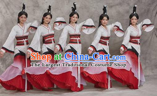 Chinese Drama Yuan Qu Ancient Court Dance Dress Stage Performance Costume and Headpiece for Women