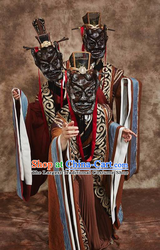Chinese Drama Yuan Qu Ancient Dance Brown Clothing Stage Performance Dance Costume for Men