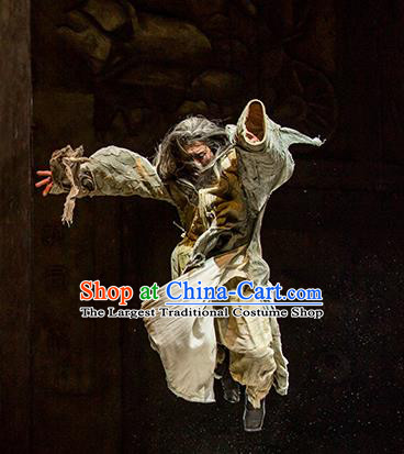 Chinese Drama Fu Sheng Ancient Qin Dynasty Old Scholar Clothing Stage Performance Dance Costume for Men