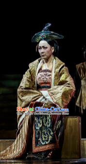 Chinese Drama Prince of Lanling Ancient Queen Mother Dress Stage Performance Dance Costume and Headpiece for Women