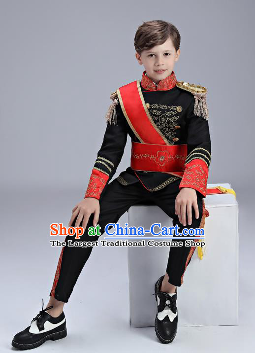 Traditional England Black Costumes European Court Honor Guard Clothing for Kids