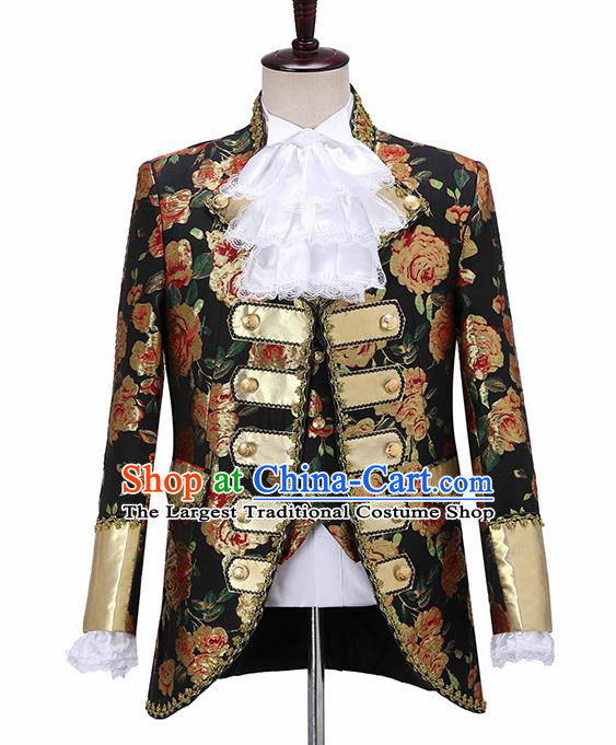 Traditional England Prince Costumes European Court Jacquard Weave Peony Vest Coat Clothing for Men