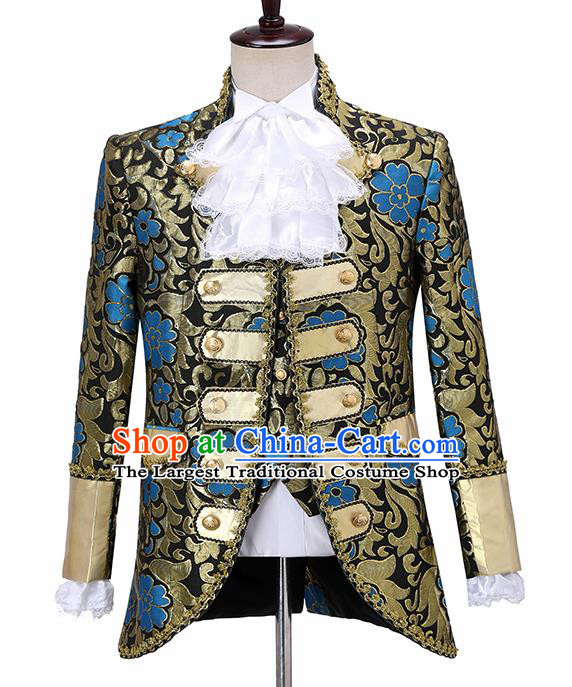 Traditional England Prince Costumes European Court Jacquard Weave Blue Flowers Vest Coat Clothing for Men
