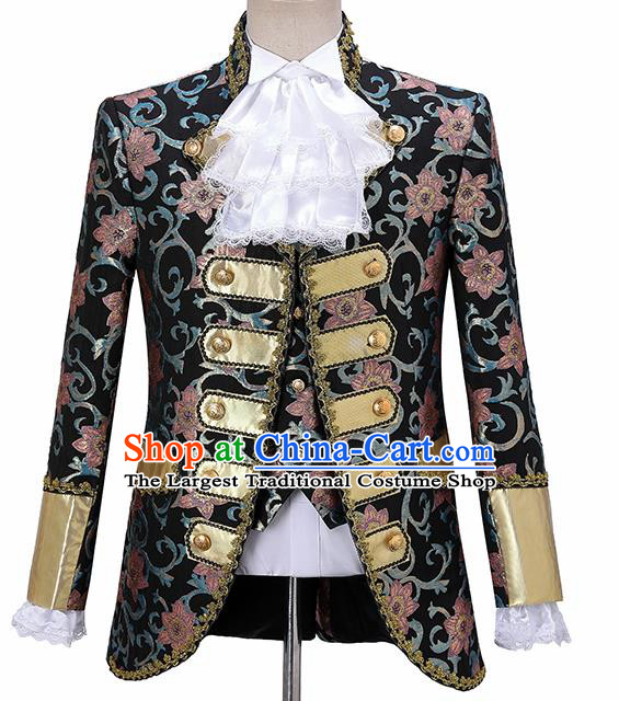 Traditional England Prince Costumes European Court Jacquard Weave Red Flowers Vest Coat Clothing for Men