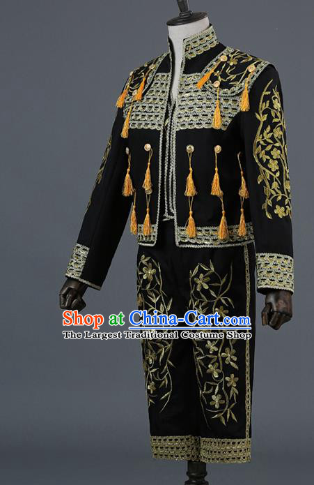 Traditional European Prince Costumes Spanish Court Black Clothing for Men