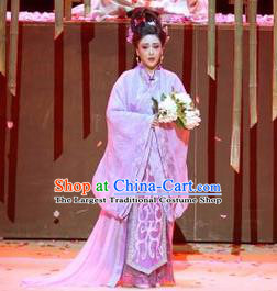 Chinese Drama Guangling Verse Ancient Jin Dynasty Court Lady Dress Stage Performance Dance Costume and Headpiece for Women