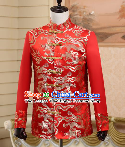 Traditional Chinese Tang Suit Costumes Wedding Dragon Red Overcoat for Men
