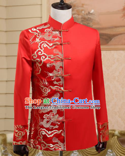 Traditional Chinese Tang Suit Costumes Wedding Red Overcoat for Men