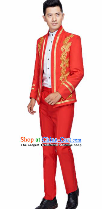 Traditional England Prince Red Costumes European Court Wedding Clothing for Men