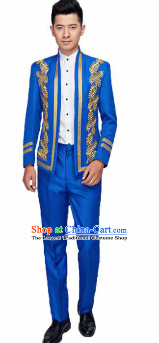 Traditional England Prince Royalblue Costumes European Court Wedding Clothing for Men
