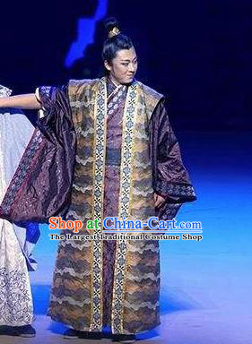 Chinese Drama Guangling Verse Ancient Jin Dynasty Nobility Childe Purple Clothing Stage Performance Dance Costume for Men