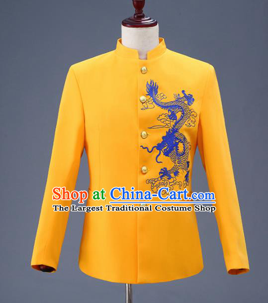 Traditional Chinese Tang Suit Costumes Embroidered Dragon Yellow Overcoat for Men