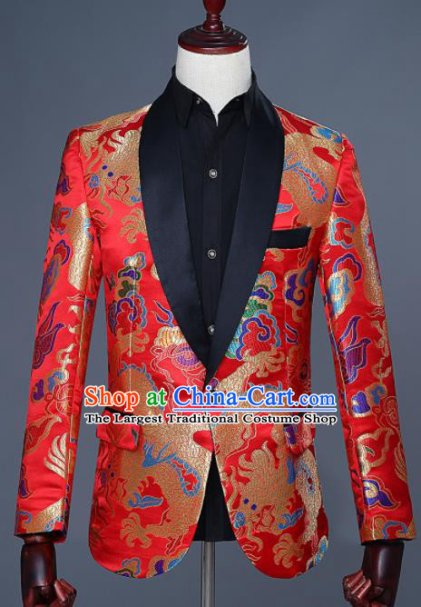 Traditional Chinese Tang Suit Costumes Embroidered Dragon Red Overcoat for Men