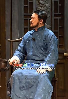 Chinese Drama Traditional Remedy Qing Dynasty Merchant Blue Clothing Stage Performance Dance Costume for Men