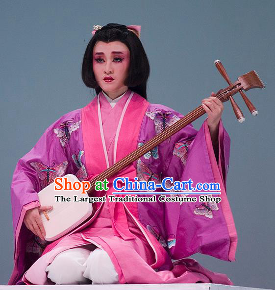 The Legend of Chunqin Shaoxing Opera Japan Geisha Embroidered Butterfly Purple Kimono Dress Stage Performance Costume and Headpiece for Women