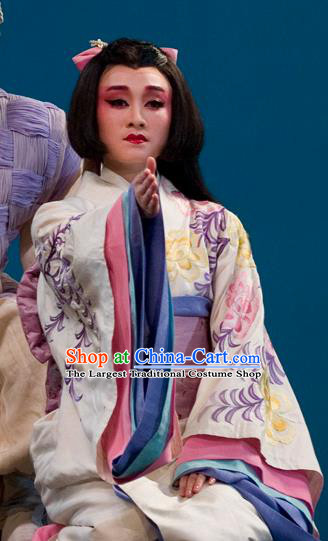 The Legend of Chunqin Shaoxing Opera Japan Geisha White Kimono Dress Stage Performance Costume and Headpiece for Women