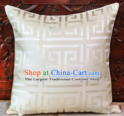 Traditional Chinese Pillowslip Classical Pattern White Brocade Cover Home Decoration Accessories