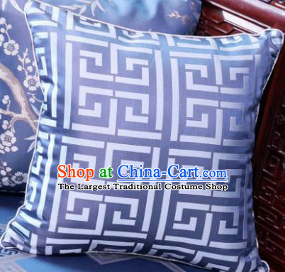 Traditional Chinese Pillowslip Classical Pattern Blue Brocade Cover Home Decoration Accessories