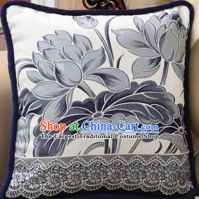 Traditional Chinese Pillowslip Classical Blue Lotus Pattern Brocade Cover Home Decoration Accessories