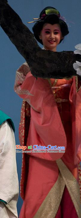 The Legend of Chunqin Shaoxing Opera Japan Geisha Pink Kimono Dress Stage Performance Costume and Headpiece for Women