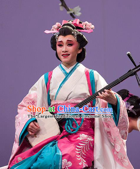 The Legend of Chunqin Shaoxing Opera Japan Geisha Kimono Dress Stage Performance Costume and Headpiece for Women