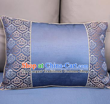 Traditional Chinese Home Decoration Accessories Back Cushion Cloud Pattern Blue Brocade Cover