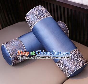 Traditional Chinese Home Decoration Accessories Pillowslip Cloud Pattern Blue Brocade Cover