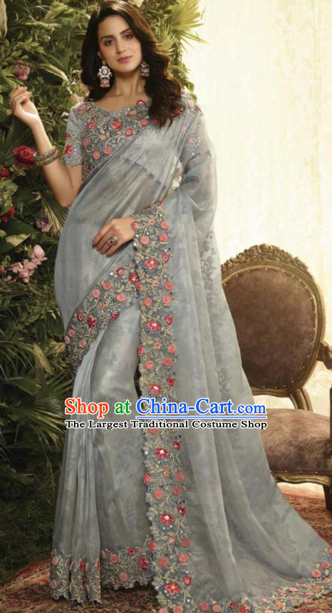 Asian Indian Court Princess Grey Embroidered Satin Sari Dress India Traditional Bollywood Costumes for Women