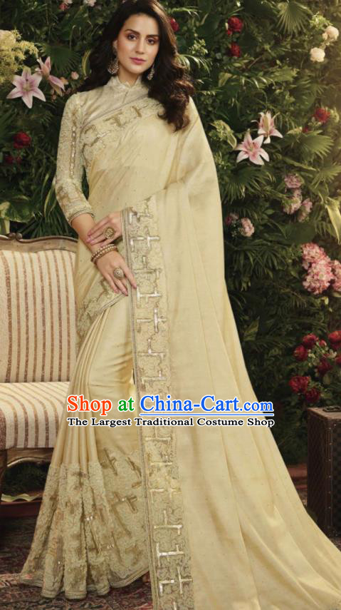 Asian Indian Court Princess Light Apricot Embroidered Satin Sari Dress India Traditional Bollywood Costumes for Women